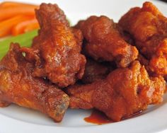 Buffalo Wings - not the original recipe from the Anchor Bar in Buffalo, N.Y., where the Buffalo wing was invented, but these are pretty darn close. A simple sauce made with Frank's RedHot, butter, garlic salt, and a touch of red-wine vinegar for balance adorns perfectly fried wings.