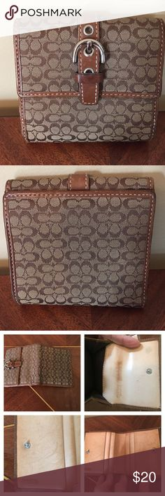 """Vintage Authentic Coach Signature C Wallet Authentic Signature C Wallet.  This has been loved. Outside wallet looks in good condition. This was one of my first Coach wallets. """"Stamped made in China"""".  Vintage!! Measurements appropriately 4"""" x 4"""" closed Please ask all questions prior to buying. Coach Bags Wallets"""