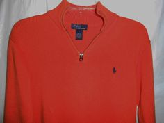 POLO by RALPH LAUREN Men Size L Large Sweater Orange 1/4 Zip Collar w/Logo #PoloRalphLauren #12Zip