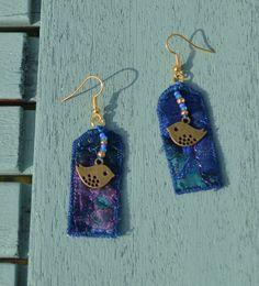 Hippie Boho Textile Earrings Festival Boho by ChrisHearnDesigns