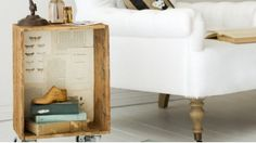Create a side table from an old crate