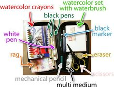 Supplies for an Art Journal -- http://balzerdesigns.typepad.com/.a/6a00d8341c766153ef0147e15773a7970b-450wi