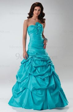Modest Taffeta A-line Ruched Floor Length Lace up Sweet 16 Dress