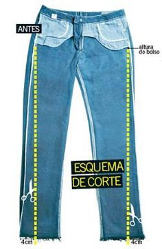 Aprenda a transformar o seu jeans básico no modelo skinny. i assume this is how to sew flared jeans into skinny jeansPara acessar as instruções, clique AQUIExample of how NOT to alter jeans. This disturbes the grainlineDIY Trends / Crafts this wee Diy Jeans, Recycle Jeans, Jeans Pants, Altering Jeans, Altering Clothes, Sewing Hacks, Sewing Tutorials, Sewing Patterns, Techniques Couture