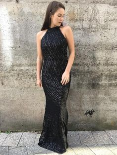 high neck sequin gown cross over pattern fit and flare also available: navy, maroon 8-18 size range