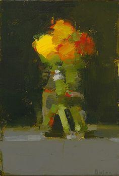 "Stanley Bielen, Vivid Ranunculus, 2014, oil on prepared panel, 8 1/4 x 5 5/8"" at William Baczek Fine Arts www.wbfinearts.com"