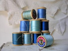Vintage Wooden Spools Hues of Blue Thread Lot by veraviola on Etsy, $10.00