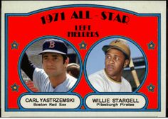 1972 Topps - 1971 All-Star Left Fielders, Carl Yastrzemski, Boston Red Sox, Willie Stargell, Pittsburgh Pirates, Baseball Cards That Never Were