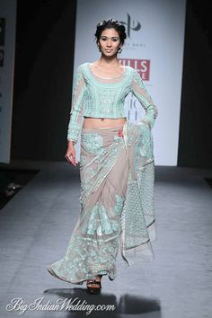 Vineet Bahl saree with embroidered blouse #WIFW