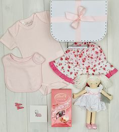 Pink Summer Days Baby Hamper - Perfect present for the baby girl - Packed in a pink vintage style keepsake suitcase it includes a cute doll from Alimrose and clothing from Emotion and Kids - Boutique baby hamper Baby Hamper, Baby Baskets, New Baby Girls, Baby Girl Newborn, Pink Summer, Summer Days, Cute Presents, Little Duck