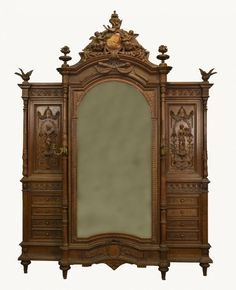 FRENCH EMPIRE STYLE FINELY CARVED WALNUT ARMOIRE; : Lot 0606