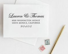 Elegant Address stamp Edwardian Script Wedding Stamps Wedding Stamps, Wedding Invitations, Customized Gifts, Personalized Gifts, Holiday Cards, Holiday Gifts, Unique Wedding Stationery, Save The Date Stamp, Custom Return Address Stamp