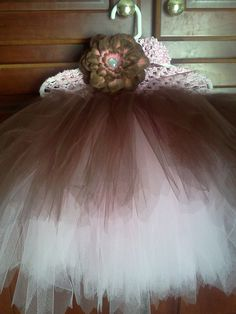 Chocolate & Baby Pink Peony flower clip and matching tutu.