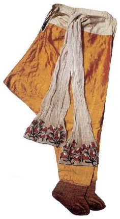 Satin  'şalvar' (trousers), embroidered 'uçkur' (waist band) and leather footwear.  For women.  Late-Ottoman, 18th or 19th century. (Topkapı Palace Museum).