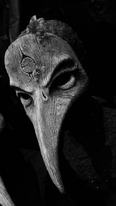 Plague Mask. Masks are used to bring in the spirits, the shaman goes into a trance and the spirit dances his or her body.
