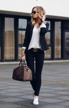 10 Key Pieces every Woman needs in her Wardrobe Casual Chic Outfit with Louis Vuitton Speedy, Gucci Belt, blazer, and Adidas Superstars, classy and chic!