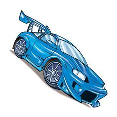 Blue Race Car Temporary Tattoo shows your need for speed