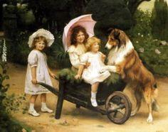 8x10 Print Victorian Children Sisters White Lace Bonnet Parasol Rough Collie Dog | eBay