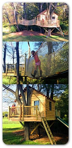 The ultimate treehouse for two kids. Includes a 100 square foot tree house with duel porches, rope bridge, cargo net, second platform, zip line, pulley & bucket, trap door and slide. Everything a kid could want... and an adult to tire them out.