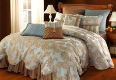 gold blue bedding   Collectibles Chantal Bedding features a heavenly blue with gold ...