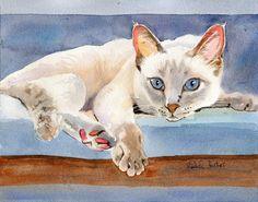 """Original Lilac Point Siamese cat Art watercolor by rachelsstudio T i t l e : """"Lilac Point Siamese"""" A r t i s t : Rachel Parker M e d i u m : Watercolor D i m e n s i o n s: 10""""x8"""" S p e c i f i c a t i o n s: Created with museum quality paint and paper."""