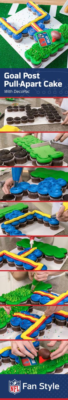 Score big points at the next game day party when you serve this goal post pull-apart cake using your team colors. It couldn't be easier to make (or serve)! http://bit.ly/1QsWWYQ