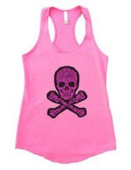 Flowy Womens Sugar Skull Crossbones Trendy Gym Tank Top Funny Threadz