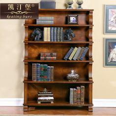 美式书柜书架组合 家用实木复古储物柜小书橱 欧式客厅落地置物架-淘宝网