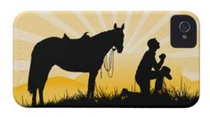 Colorful sunset retro Praying Cowboy with Horse on iPhone cases. Perfect for Christian Cowboys, Cowboys for Christ, horse lovers and riders. ADD your own text to customize. Click Customize button. $44.95