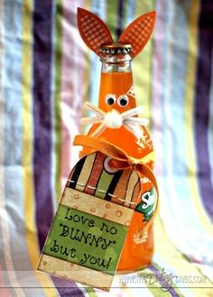 """Love no bunny but you"" – cute and quick Easter idea for him. Beer bottle instead of soda, most likely"