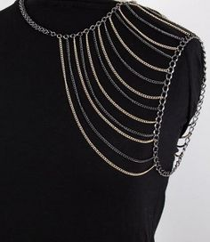 Shoulder Chain Armor Body Jewelry Hematite Gold Multi Chains Designer Fashion Statement Avant Garde