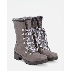Justfab Booties Freeha ($43) ❤ liked on Polyvore featuring shoes, boots, ankle booties, grey, fold-over boots, gray boots, lug sole boots, mid heel booties and platform ankle booties