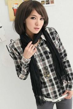 British Style Shirt Collar Checked Design Long Sleeves Cotton Blend Column Shirt For Women Online Blouse Shopping, Sammy Dress, British Style, Shirt Style, Punk, My Style, Long Sleeve, Cotton, Shirts