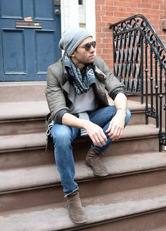 Pringle of Scotland jacket, RRL scarf, H&M denim & Fiorentini+Baker suede boots - men's fashion and style Nyc Mens Fashion, Mens Fashion Suits, Fashion Trends, Style Blog, Men's Style, Mens Suede Boots, Casual Man, Men Stuff, Men's Wardrobe
