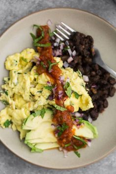 Cilantro Scramble with Spiced Black Beans | Naturally Ella