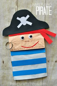 Inspo from our friends! This paper bag pirate craft is adorable and since it is a puppet, your child will have a fabulous time getting to play with their puppet after making it. Fun summer kids craft or great for a pirate birthday party. Pirate Preschool, Pirate Activities, Preschool Crafts, Preschool Pirate Crafts, Preschool Christmas, Art Activities, Summer Activities, Family Activities, Pirate Art
