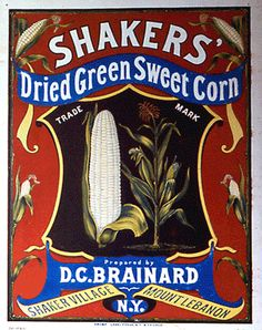 Shaker's Dried Green Sweet Corn label from the Shaker Museum|Mount Lebanon collection