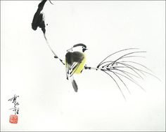 Sumi E Painting, Japan Painting, Japanese Watercolor, Watercolor Bird, Chinese Artwork, Chinese Painting, Japanese Bird, Japanese Drawings, Organic Art