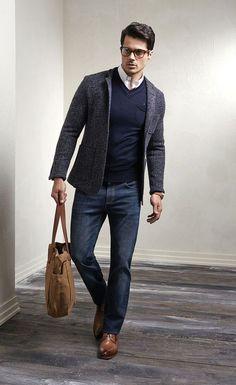 Blazer masculino com jeans