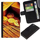 Flip Leder Tasche Handy Schutz Hülle || Apple Iphone 6 || Gold Bar-Münzen-Geld @XPTECH