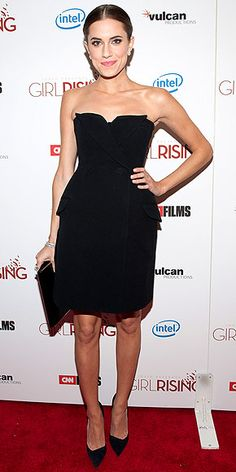Allison Williams in a Dior LBD with Van Cleef & Arpels jewelry.