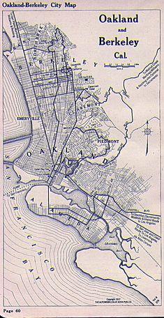 Oakland and Berkeley Map 1917 #map #oakland #berkeley #california