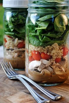 "(I HAVE to wonder how well this really works.) ""The most important part of the layering is making sure the dressing and the spinach (or whatever 'leaf' you choose) don't touch. As long as they stay separate, these salads can be made up to 4 days in advance and will stay fresh in the fridge with a lid on. This is one of my tricks to eating salad everyday for lunch at work. I make a few jars on Sunday night and just grab one to bring to work everyday. When you're ready to eat, just shake it up..."