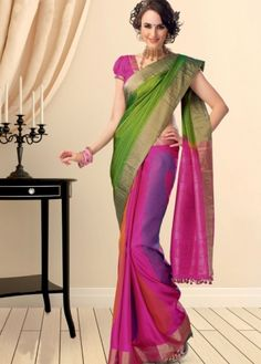 Green Colored Self Checked Body with Multicolored Partly Design and Pink Colored Pallu with Bavanju Border Pure Soft Silk Saree. http://www.shreedevitextile.com/women/sarees/soft-silk-saree/shree-devi/green-colored-pure-soft-silk-saree