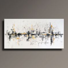 "72"" Large ORIGINAL ABSTRACT Painting on Canvas Contemporary Abstract Modern Art White Gray Gold Black wall decor - Unstretched"