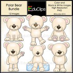 Polar Bear Clip Art Bundle by EduClips on Etsy, $3.00
