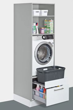 Utility room ideas from Schuller, solutions for everything – even in a small space. Fitted furniture for your laundry, cleaning, storage and recycling. Stacked Washer Dryer, Washer And Dryer, Happy House, 31 Ideas, Small Laundry Rooms, Mudroom, House Ideas, Pantry, Cozy House