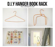 didn't I think of that? DIY Wire Hanger Book / Magazine Holder just made this: works good. put it in our bathroom.Why didn't I think of that? DIY Wire Hanger Book / Magazine Holder just made this: works good. put it in our bathroom. Diy Clothes Hanger Rack, Coat Hanger, Wall Hanger, Clothes Storage, Wire Hanger Crafts, Wire Hangers, Plate Hangers, Diy Para A Casa, Decoracion Low Cost