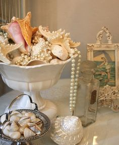 Seashells on display - My Romantic Home: Our Home
