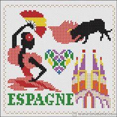 0 point de croix femme espagnole espagne - cross stitch spanish lady, spain